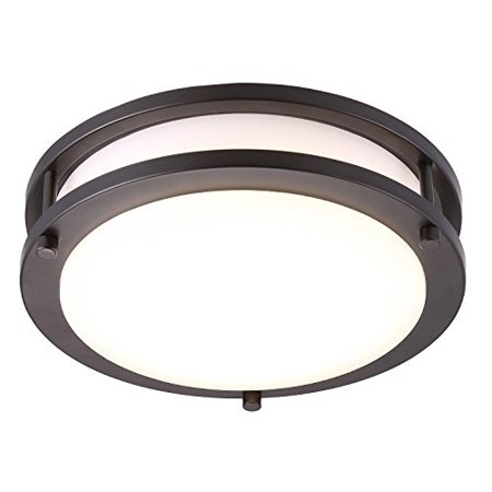 cloudy bay led flush mount ceiling light,10 inch,17w(120w equivalent)  dimmable 1150lm,3000k warm white,oil rubbed bronze round lighting fixture  for ...