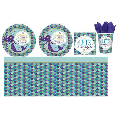 Mermaid Wishes Birthday Party Supply Kit for 16 guests - Shipped Fedex Express