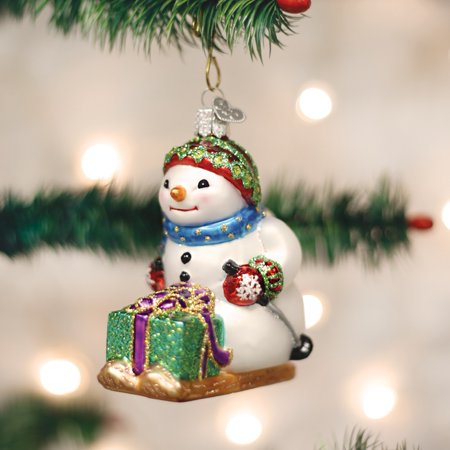 Old World Christmas Snowman on Skis Decoration Glass Ornament 24163 FREE BOX - Christmas Around The World Decorations