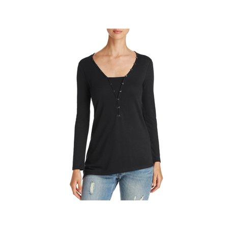 Long Sleeve Knit Henley Top (Love Scarlett Womens Knit Long Sleeves Henley Top )