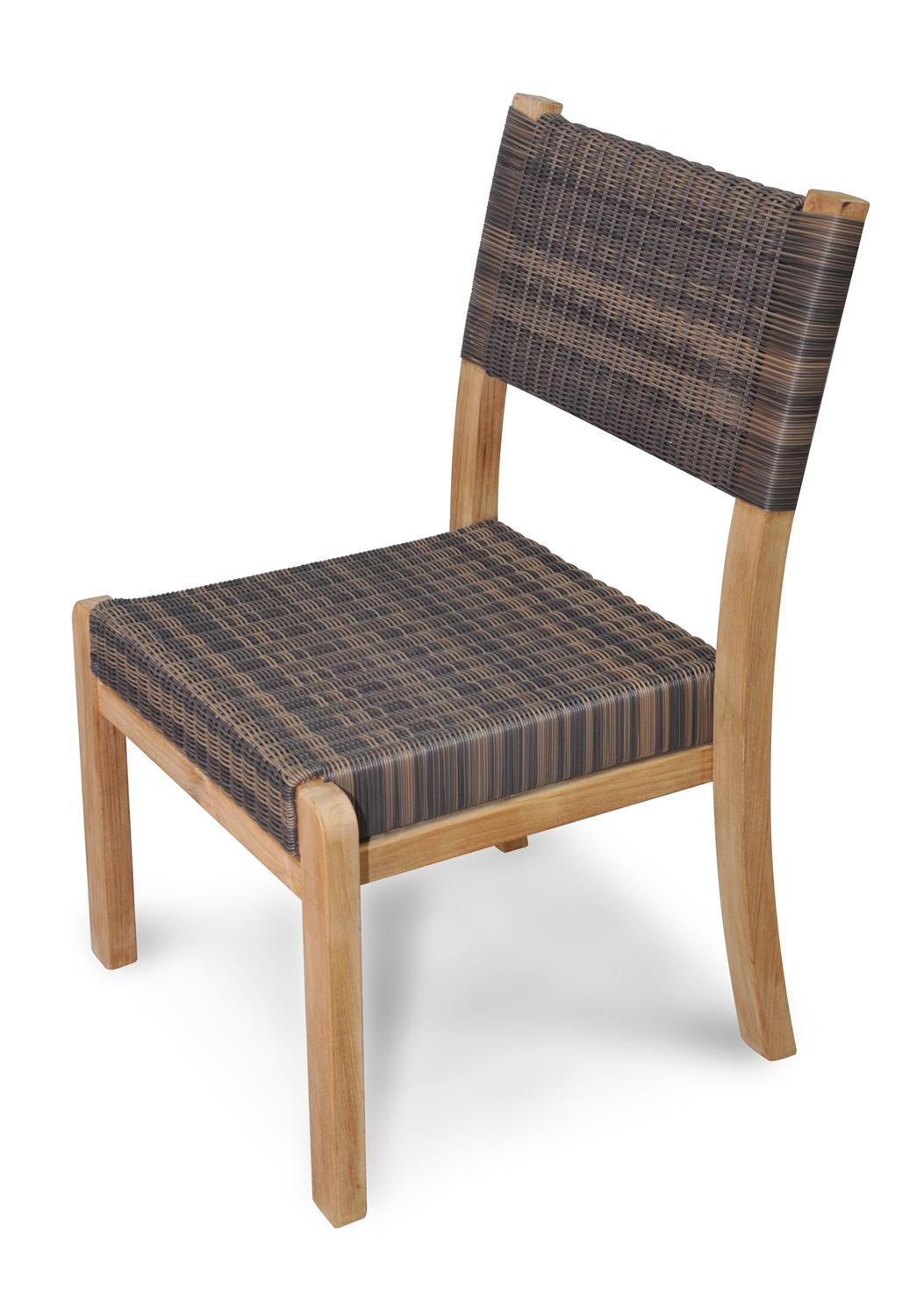 4 Chair Patio Set: Set Of 4 Natural Finish Teak Outdoor Patio Wood And Wicker