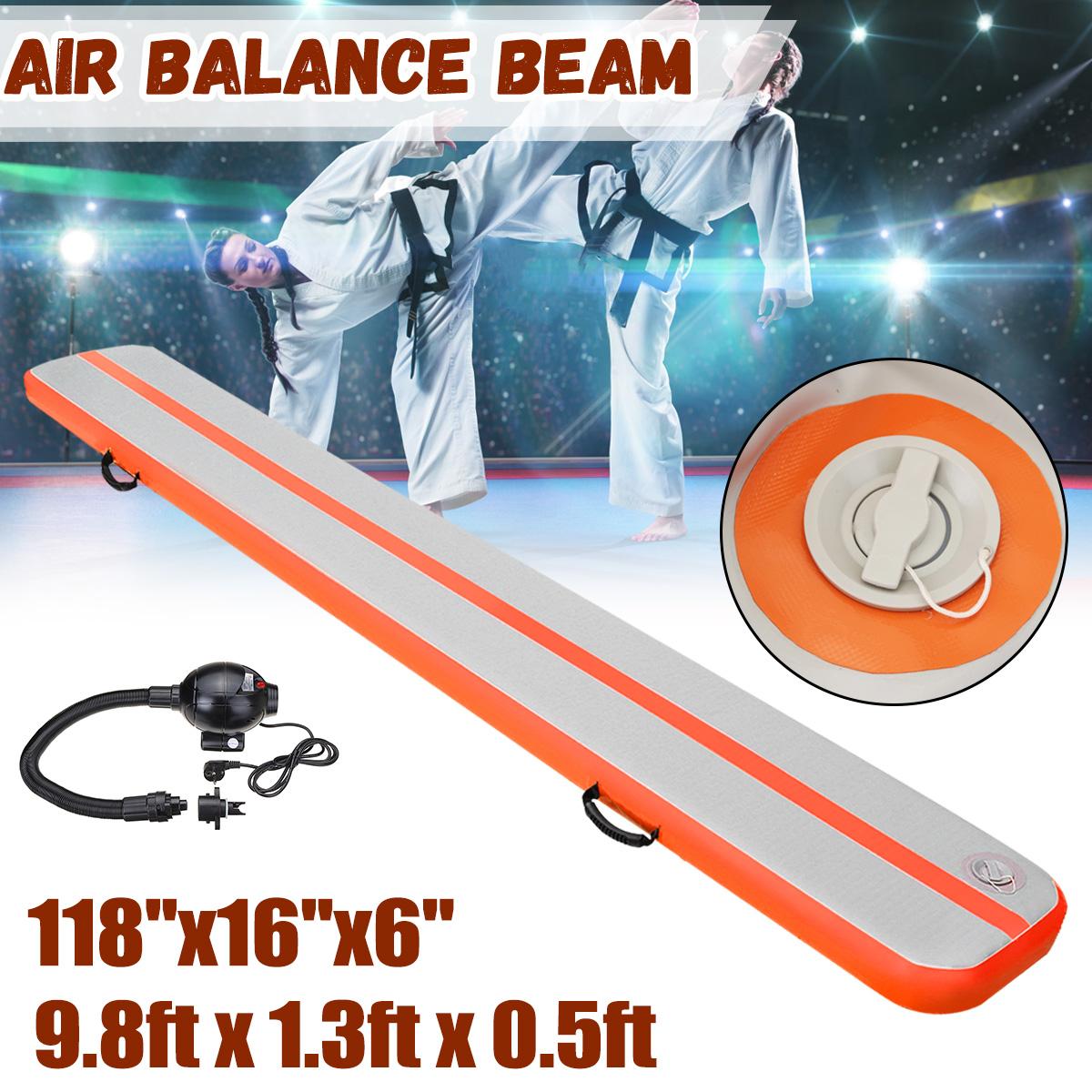 9.8ftx1.3ftx0.5ft Gymnastics GYM inflatable air track Air Balance Beam Inflatable Practice Floor Training Yoga Mat Air Tumbling Track + 110V Pump, US Plug, Orange & Grey