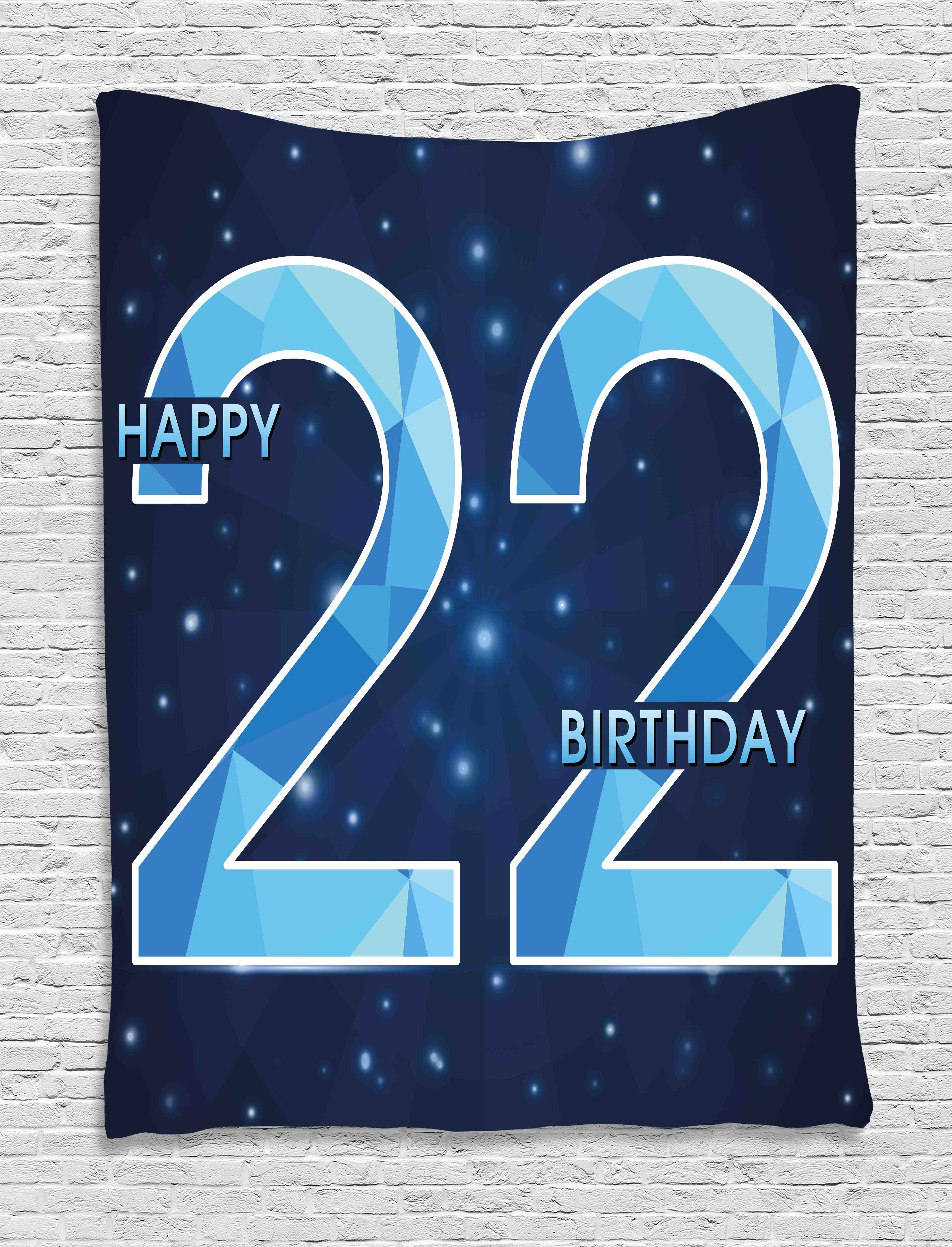 22nd Birthday Decorations Tapestry Happy Age Anniversary Digital