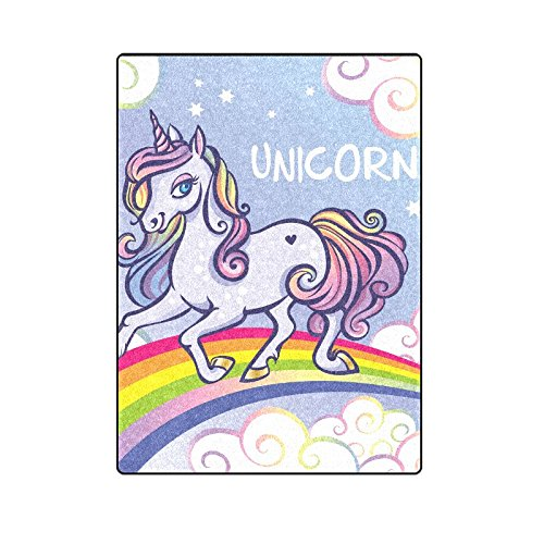 CADecor Cute Unicorn Stars Rainbow Blanket Throw Super Soft Warm Bed or Couch Blanket 58x80 inches