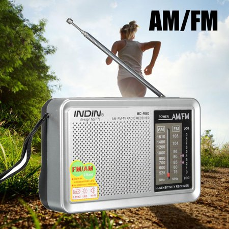 INDIN LED Portable Mini Pocket HIFI Stereo AM / FM Radio Telescopic Antenna World Receiver Speaker Music stereo speaker MP3 Player With Speaker 3.5mm AUX Earphone Jack (Best Hi Fi In The World)