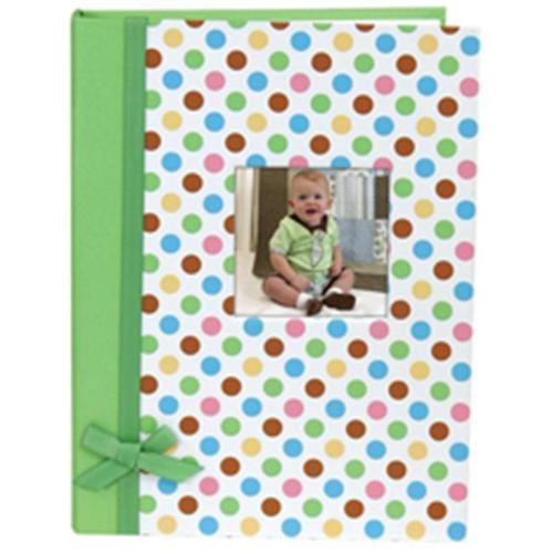 Stephan Baby Keepsake Mini-Dot Photo Brag Book with Ribbon Embellishment, Green