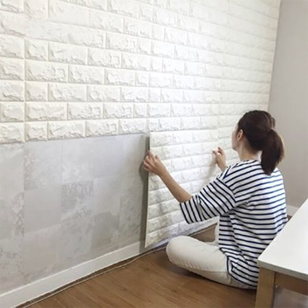 Art3d 6 Sq.Ft Peel and Stick 3D Wall Panels White Brick Wallpaper / Wall Decal / Wall Accent / TV Walls