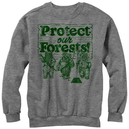 Star Wars Ewok Protect Our Forests Mens Graphic Sweatshirt (Star Wars Ewok Baby)
