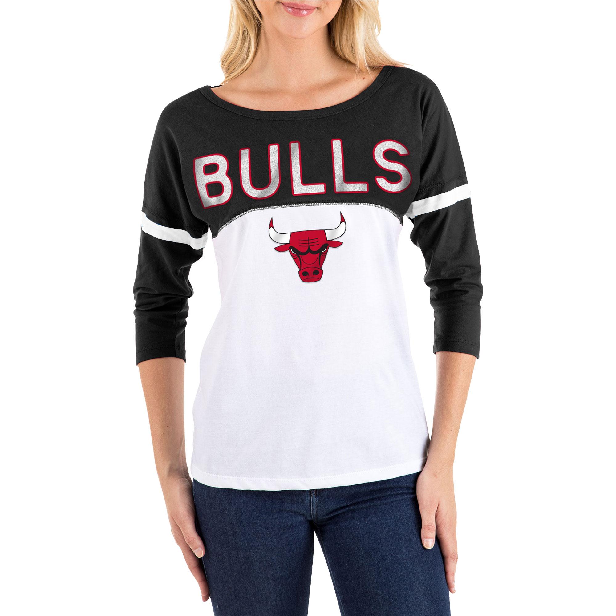 Women's New Era White/Black Chicago Bulls 3/4-Sleeve T-Shirt