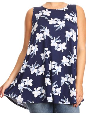 7b2d2b6f6b62b Product Image BNY Corner Women Plus Size Sleeveless Floral Pattern Printed  Tunic Tank Top Dark Navy XL B4280