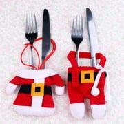 Peroptimist Christmas Silverware Holders Christmas Tree Ornaments Party Decorations, Xmas Cutlery Tableware Holder Santa Suit Dinner Table Decor Knife Fork Pocket Bag Hostess Gifts