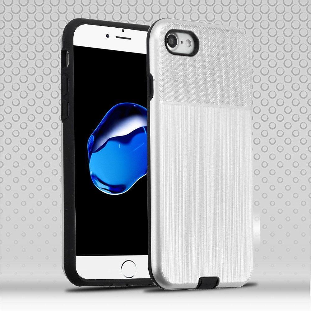 Apple iPhone 7/8 Case, by Insten Dual Layer Hybrid Brushed Hard Snap-in Case Cover For Apple iPhone 7/8 - Silver/Black - image 3 of 3