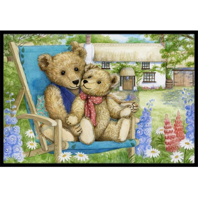 Carolines Treasures CDCO0306JMAT Springtime Teddy Bears in Flowers Indoor or Outdoor Mat, 24 x 36 - image 1 of 1