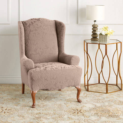 Superieur Sure Fit Stretch Jacquard Damask Wing Chair Slipcover