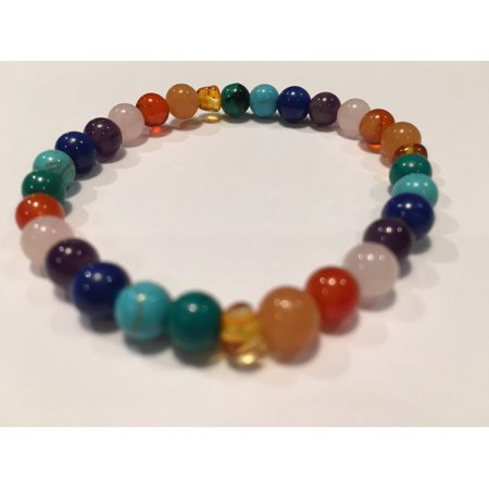 Rainbow Aura Quartz - Baltic Amber Teen Adult 7.5 inch Bracelet Rainbow Honey Amber Pink Rose Quartz Red Agate Aventurine Chrysocolla