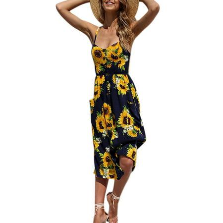 Summer Women Beach Holiday Button Through Off Shoulder Starppy Slig Summer Midi Floral Sun Dress Long Dresses (Childrens Floral Dresses)