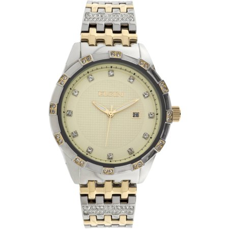Elgin Men's Two-Tone Champagne Dial Crystal Accented Bracelet Watch