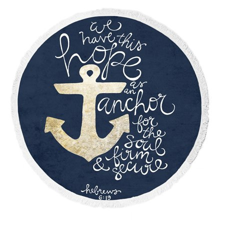 GCKG We Have This Hope As an Anchor for the Soul Hebrew 6:19 Theme Pattern Round Beach Towel Beach Mats Beach Shawl Beach Blanket with Tassels Beach Throw Towel Yoga Mat (Theme Beach)