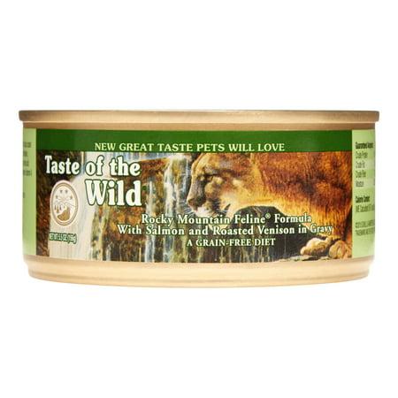 Taste of the Wild Rocky Mountain Grain-Free Salmon & Roasted Venison Wet Cat Food, 5.5 oz, Case of