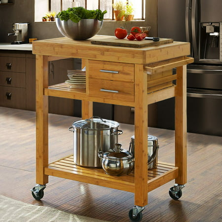 Clevr Rolling Bamboo Kitchen Island Cart Trolley, Cabinet w/ Towel Rack Drawer - Kitchen Cart One Drawer Cabinet