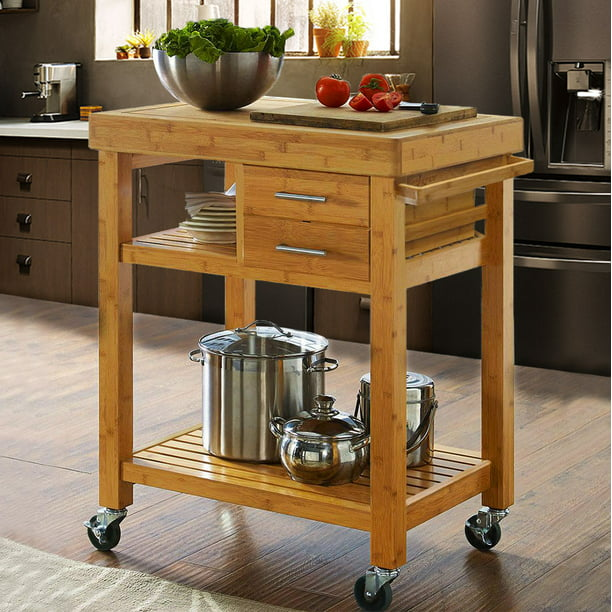 Clevr Rolling Bamboo Kitchen Island Trolley Cart With Rack And