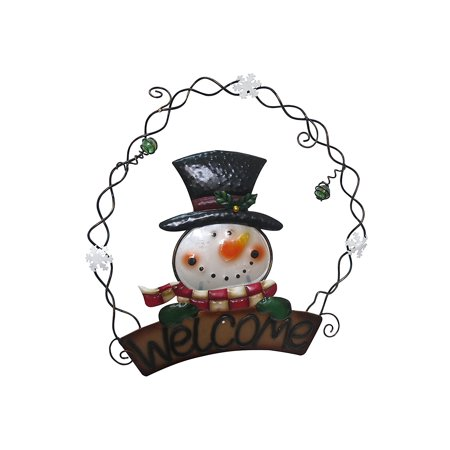 """Image of 13"""" Metal and Glass Snowman Welcome Wall Hanging Decor"""