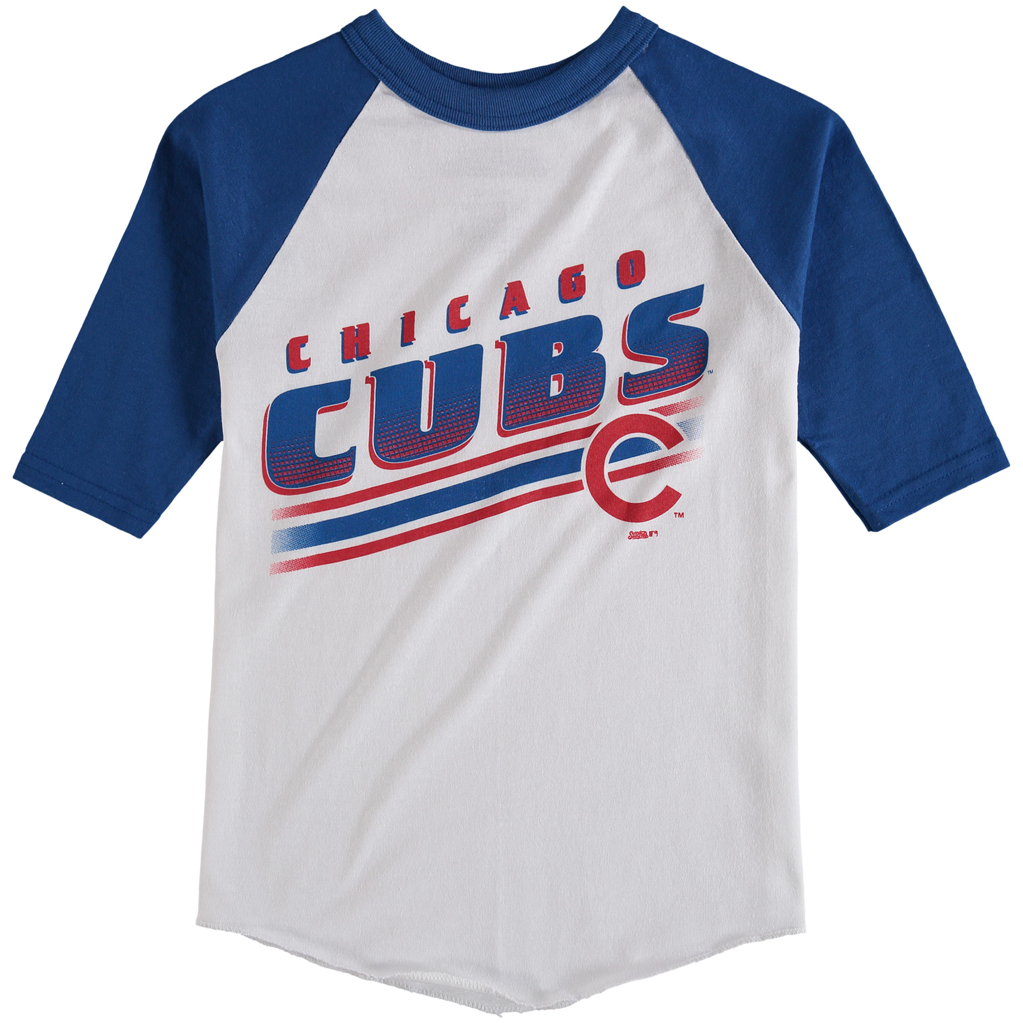 Chicago Cubs Stitches Youth 3/4-Sleeve Raglan T-Shirt - White/Royal