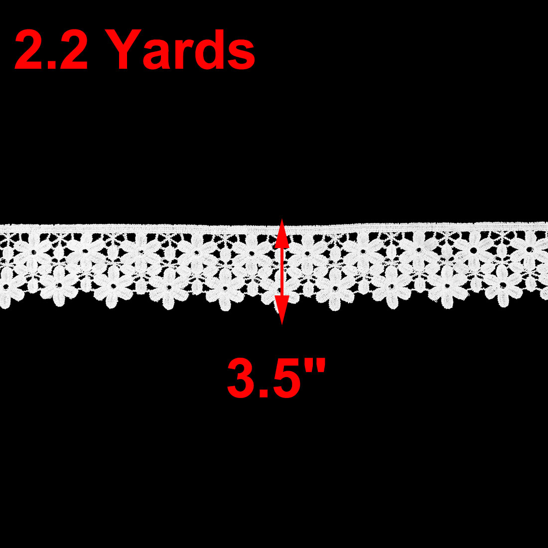 Polyester Floral Design Craft Gift Wrapping Scrapbooking Decor Lace Trim White - image 2 de 3