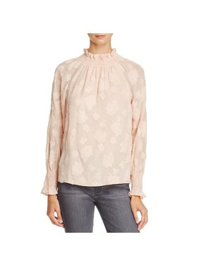 1ae348bb4f7ff Product Image Rebecca Taylor Womens Silk Smocked Neck Pullover Top Pink 12
