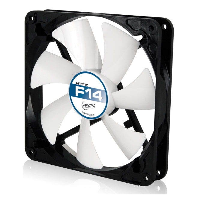 Arctic Cooling F14 140mm Low Noise Case Fan (Black / White) - NEW