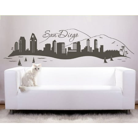 San Diego City Skyline Wall Decal - cityscape wall decal, sticker, mural vinyl art home decor - 4199 - White, 31in x 9in