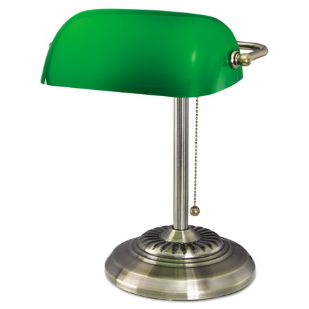 Alera Traditional Banker's Lamp, Green Glass Shade, Antique Brass Base, 14