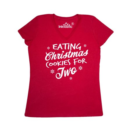 599418b34 Inktastic - Eating Christmas Cookies For Two with Snowflakes Women's V-Neck  T-Shirt - Walmart.com