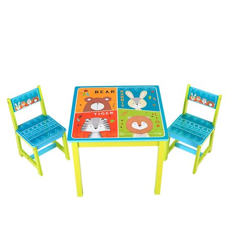 - Gymax Kids Table and 2 Chairs Set For Toddler Baby Gift Desk Furniture Cartoon Pattern