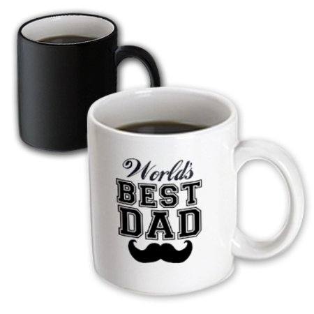 3dRose Worlds best dad with funny black mustache - retro moustache vintage font - fathers day daddy gift, Magic Transforming Mug, 11oz for $<!---->