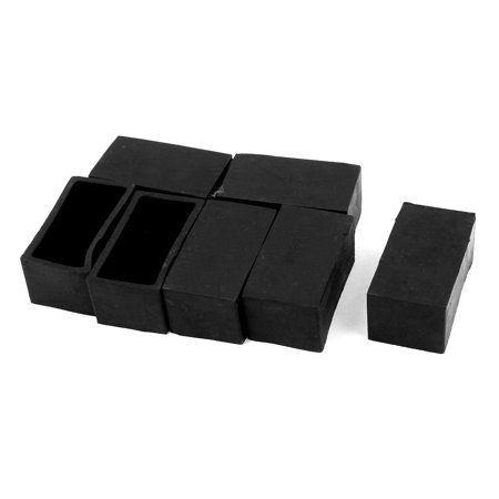 Furniture Legs 50mmx25mm Rectangle Shaped Rubber Foot Guard Covers Black 7 Pcs