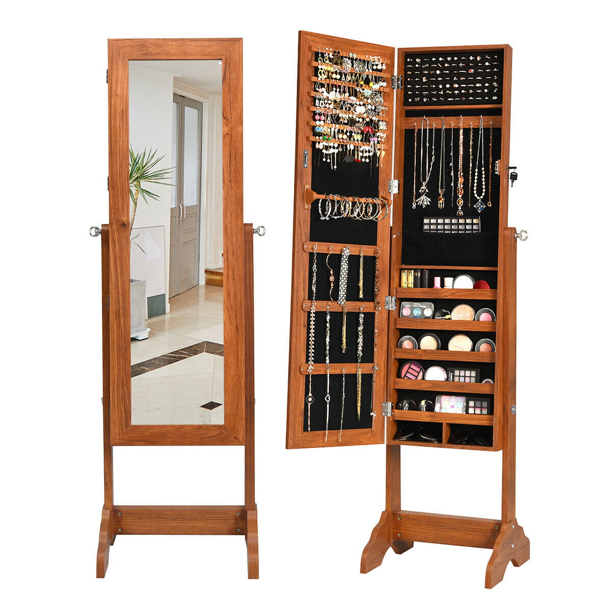 Gymax Lockable Jewelry Cabinet Armoire Standing Jewelry ...