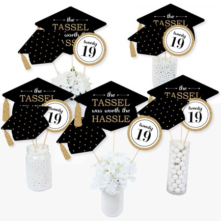Gold - Tassel Worth The Hassle - 2019 Graduation Party Centerpiece Sticks - Table Toppers - Set of - Graduation Centerpieces Ideas Homemade