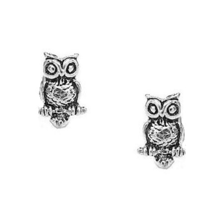 925 Sterling Silver Owl Stud Post Earrings Small Tiny For Kids
