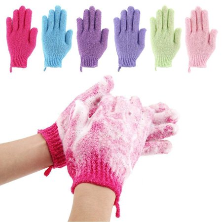 Coolmade 6 Pair Bath Exfoliating Gloves Nylon Shower Gloves, Bath Scrubber, Body Spa Massage Dead Skin Cell Remover Valentine's Gifts for Women Men