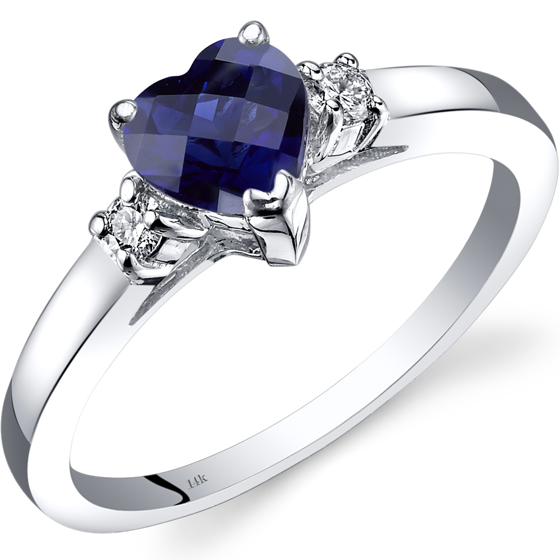 Peora 1 Carat T.G.W. Heart-Cut Created Blue Sapphire and Diamond Accent 14kt White Gold Ring Size 7 by