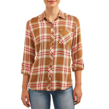 Time and Tru Womens Button Front Plaid Top