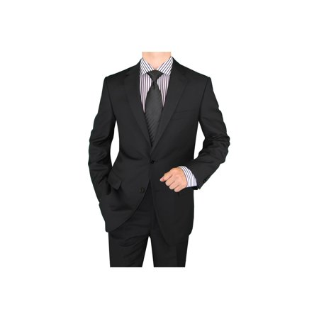 Business Suits Double Side Vent (Salvatore Exte Men's Suit Two Button Side Vent Jacket Flat Front)