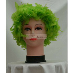 Lime Green Chandelle Feather Wig/Halloween Costume - Lime Green Halloween Lights