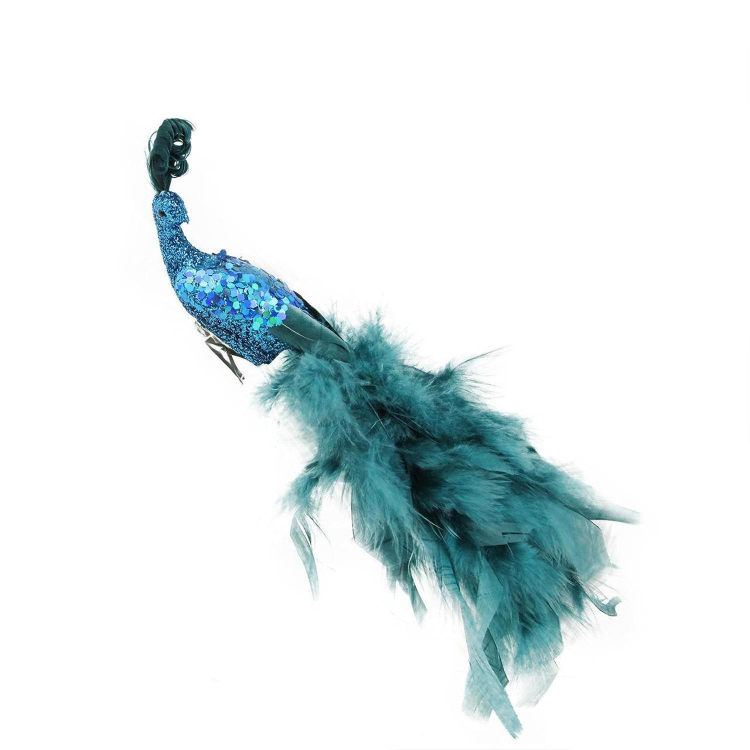 """11"""" Regal Peacock Teal Blue with Feather Tail Right Facing Clip On Christmas Ornament"""