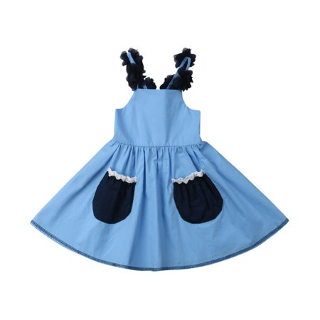 1-6T Baby Girl Cotton Sundress Flower Shoulder Strap Sweet Dress Blue Pocket Dress Backless Pleated Summer - Toddler Belle Dress