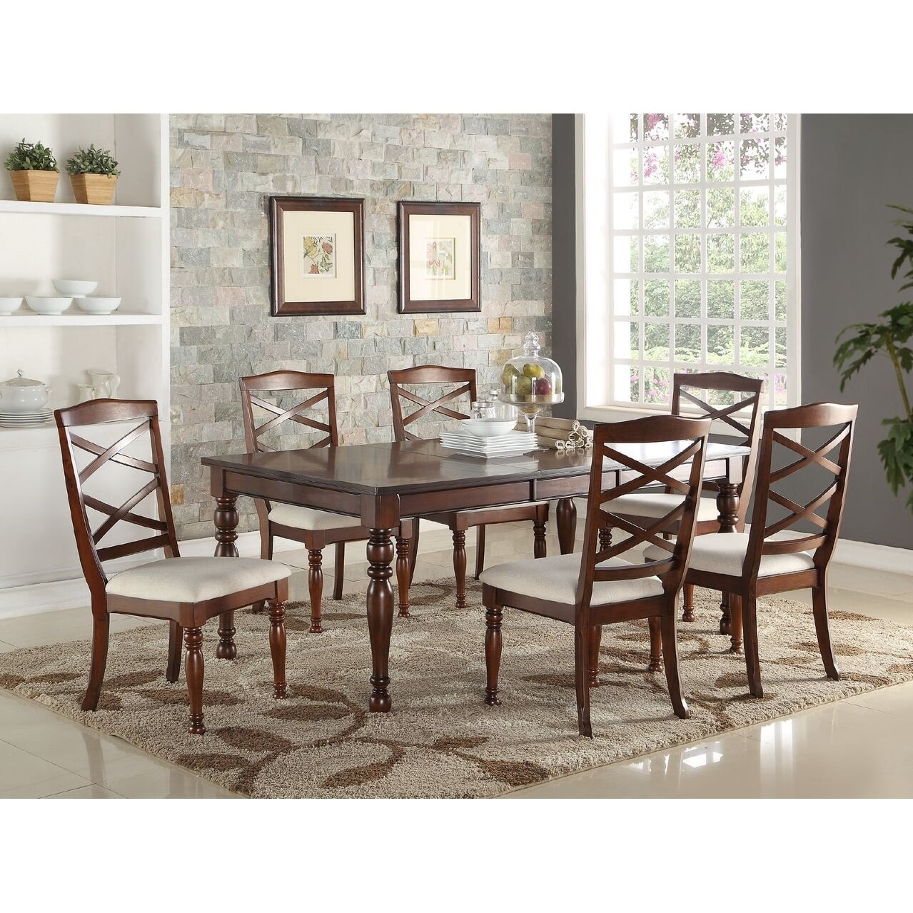 Poundex Tartar 7 Piece Traditional Dining Set Walmart