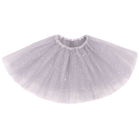 Women's Classic 3 Layered Tulle Sparkling Sequin Tutu Skirt, Silver - Silver Tutus
