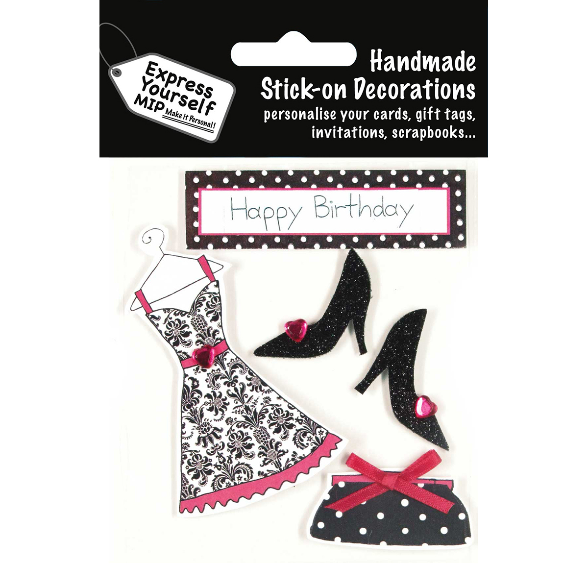 Express Yourself MIP 3D Stickers-Fashion Items - Black & Pink