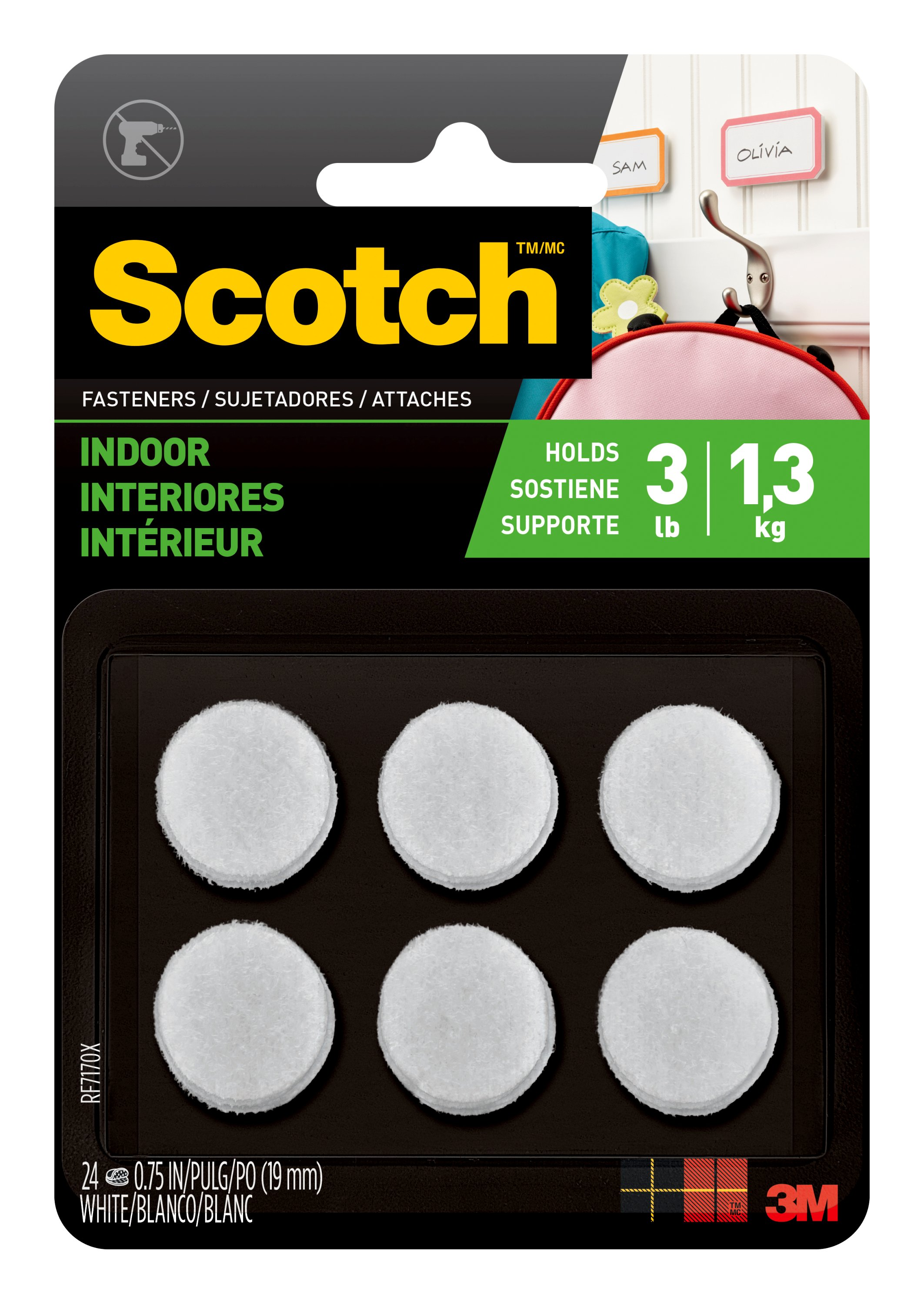 3//4 in x 5 ft Scotch® Indoor Fasteners White